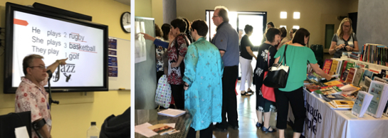 Photos from QATESOL Regional Conference in Mackay: Arizio Sweeting presenting and the book display