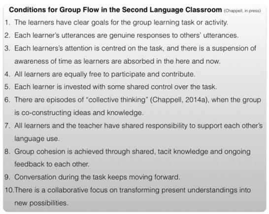 Conditions for Group Flow in the Second Language Classroom: Slide from Phil Chappell's presentation at UECA PD Fest 2015